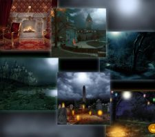Halloween backgrounds preview by Arrelline