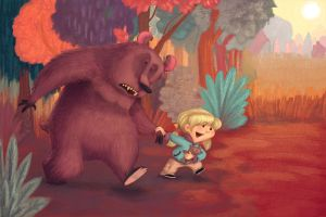 Bear and girl by berf