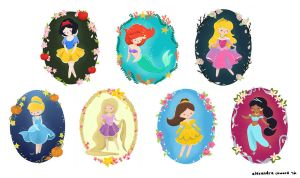 Disney Princesses by cuppycupjrs