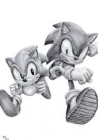 Classic and Modern Sonic by taratjah