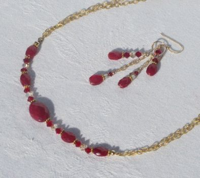 Genuine RED Ruby Choker Set by baylady