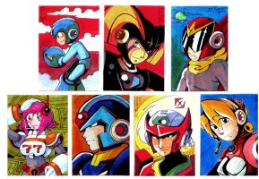 Megaman Sketch Cards by pumpkinsareholy