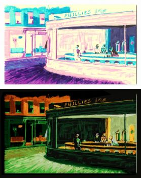 Nighthawks on a Post-It Note (then inverted) by GBoGBo