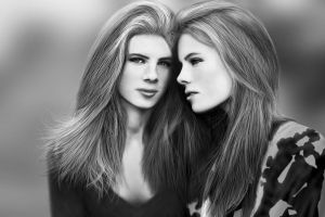 Twins Drawing by JoeDieBestie