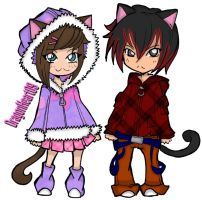 Ashie and Killer Neko Chibi's by DragonHeart09