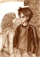 Harry Hermione saying goodbye by Yamatoking