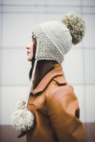 Beige beanie with Pompons by NatalieKnit