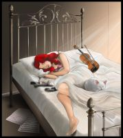 Rubina asleep with her cats by Ayhe