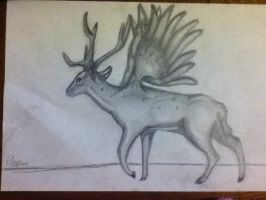 Stag with wings by b24beanz