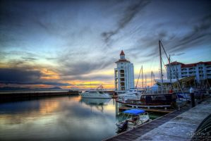 Sunrise of Straits Quay, Penang by fighteden