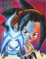 Shaman King Yoh and Amidamaru by ninjatron