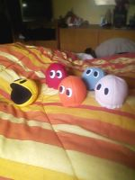 Pac-Man and the Ghosts plushies by GBlastGirl