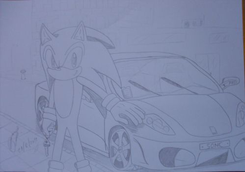 Sonic And his Ferrari by rodrithehedgehog
