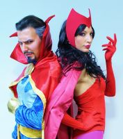 Scarlet Witch and Doctor Strange by valentinachan