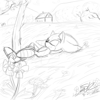Sonic Relaxing Sketch by ShadowReaper12