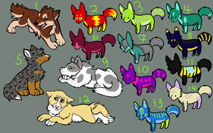 Leftover Adoptables 1 by LaserCollieAdoptions