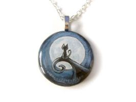 Moonlit Hill Cat 2 - Pendant Necklace / Sold by sobeyondthis