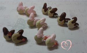 Bunny cookie earrings by ilikeshiniesfakery