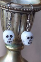 Old School Skull Earrings by BastsBoutique