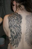 Wing tattoo second sitting by Lizzimedz