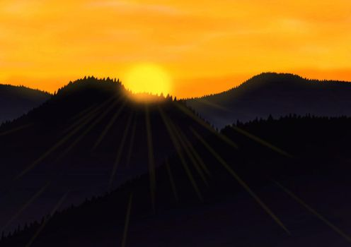 Sunset over the hills (Landscape practice) by Wojowy