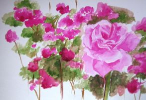 Water color roses by xShadowfoxX