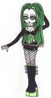 Green Cyber Goth Girl by TheDramaticMonarch