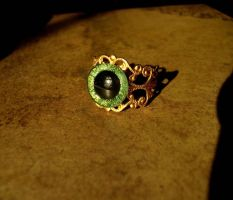 Green Gold Adjustable Eye Ring - Gothic Elegance by LadyPirotessa