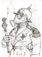 Steampunk Gas Officer by JanBoruta