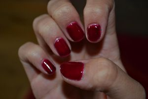 Deep Red gel nails by Bexiieeee