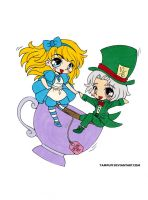 Alice and the Mad Hatter Colored by Maiko-Girl
