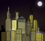 Cartoon City Skyline - Night by E350tb