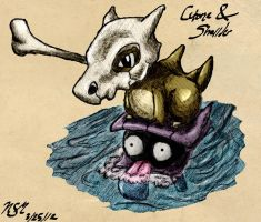 Cubone and Shellder by Snippy-Snap