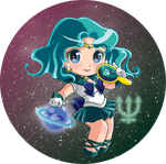 Sailormoon buttons Set 2: Sailor Neptune by Hadibou