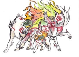 Okami trio by MononokeWolfSpirit