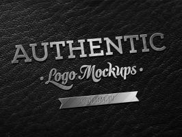Freebie - Dark Leather Metallic Finish Logo Mockup by ibRC