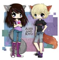 Kiyo and Aliex Fox Commish by YamPuff
