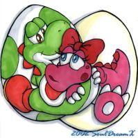 Yoshi and Birdo by souldreamx