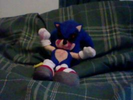 Sonic.Exe on my bed by jayemeraldover9000x