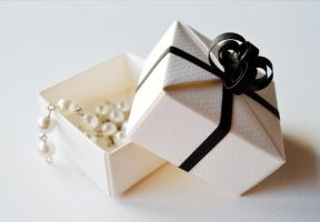 Black and White Origami Wedding Gift Box by ReverseCascade