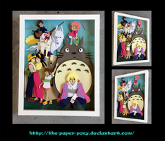Commission: Studio Ghibli Shadowbox by The-Paper-Pony