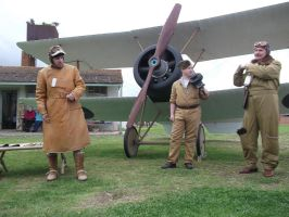 RFC crew in front of Sopwith Pup by Tripehound
