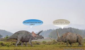 Triceratops and Elasmotherium Confrontation by SameerPrehistorica
