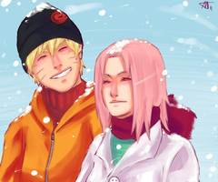 NaruSaku . Snow by starchiishio