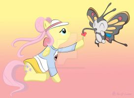Fluttershy and Beautifly by SketchyChangeling