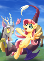 Fluttershy and discord by nekokevin