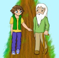 boy greeting old man by kittygriffin