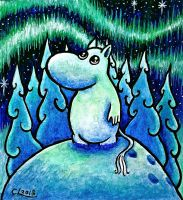 Moomintroll looking at the Northern Light by chricko