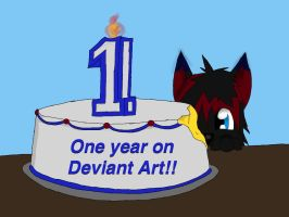 One year on deviant!!! by Lonewolf23pro