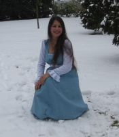 Blue dress in Snow 2 by NaomiFan